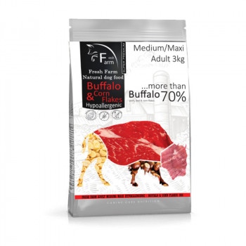 Fresh Farm Adult Medium&Maxi Intolerance - Buffalo & Cornflakes 3kg Fresh Farm - 1
