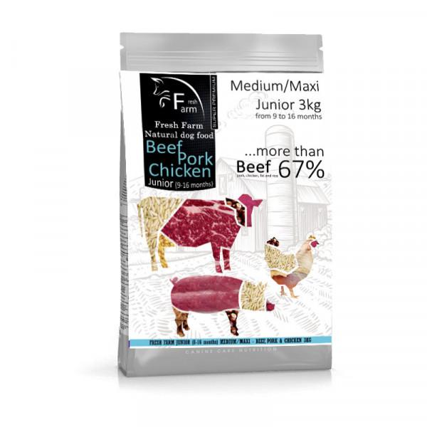 Fresh Farm Junior 9-16 Medium&Maxi - Multiprotein 3kg Fresh Farm - 1