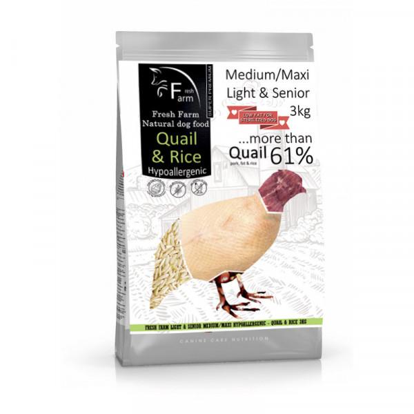 Fresh Farm Light&Senior Medium&Maxi - Quail & Rice 3kg Fresh Farm - 1