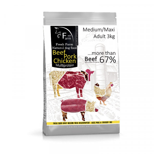 Fresh Farm Adult Medium&Maxi Multiprotein - Beef, Pork & Chicken 3kg Fresh Farm - 1
