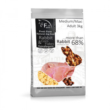 Fresh Farm Adult Medium&Maxi Intolerance - Rabbit & Cornflakes 3kg Fresh Farm - 1