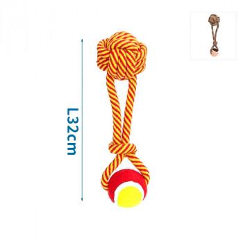 Bavlnené lano s uzlom a loptou - 32cm (červené/hnedé) Nobleza - 1