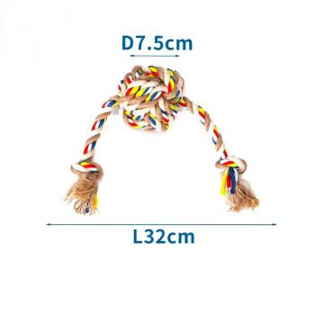 Bavlnené lano s loptou a 2 uzlami Nobleza - 32cm (béžové) Nobleza - 1