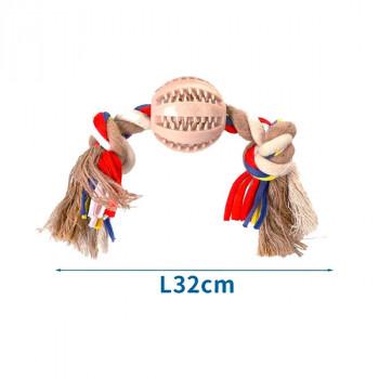 Bavlnené lano s 2 uzlami Nobleza - 32cm (béžové) Nobleza - 1