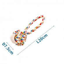 Bavlnené lano s loptou a rúčkou - 20cm (béžové) Nobleza - 1