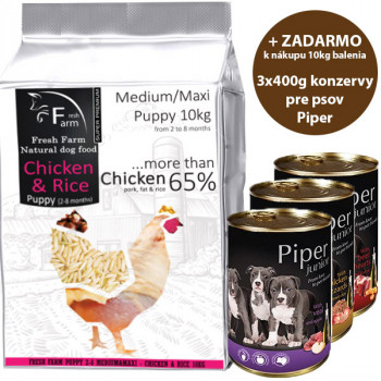 Fresh Farm Puppy 2-8 Medium/Maxi Chicken & Rice 10kg Fresh Farm - 1