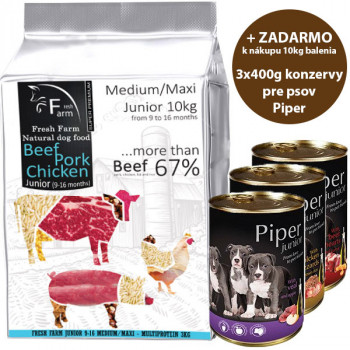 Fresh Farm Junior 9-16 Medium&Maxi - Multiprotein 10kg Fresh Farm - 1