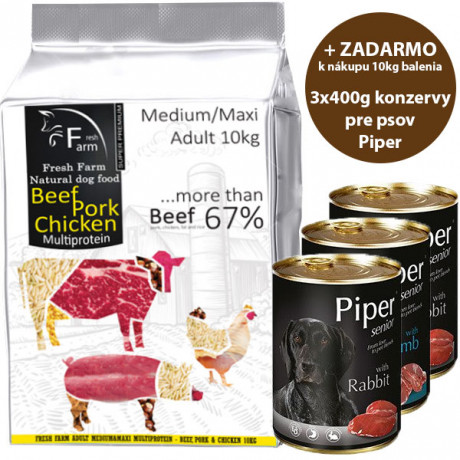 Fresh Farm Adult Medium&Maxi Multiprotein - Beef, Pork & Chicken 10kg teraz za 26,90 €