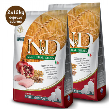 Farmina N&D Dog LG Puppy Medium&Maxi Chicken & Pomegranate 2x12 kg teraz za 97,00 €