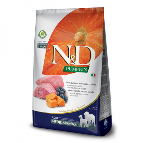 N&D Pumpkin Adult Medium/Maxi - Lamb & Blueberry 2,5kg Farmina N&D - 1