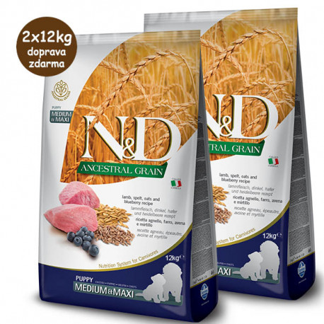 Farmina N&D Dog LG Puppy Medium&Maxi Lamb & Blueberry 2x12 kg Farmina N&D - 1