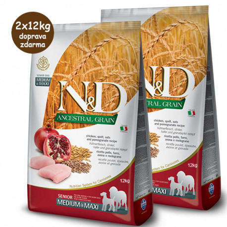Farmina N&D dog LG Senior Medium&Maxi Chicken & Pomegranate 2x12kg Farmina N&D - 1