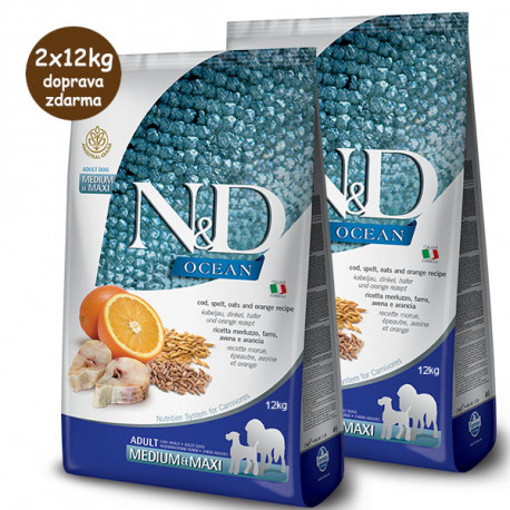 Farmina N&D Dog LG Adult Medium&Maxi Cod, Spelt, Oats & Orange 2x12 kg Farmina N&D - 1