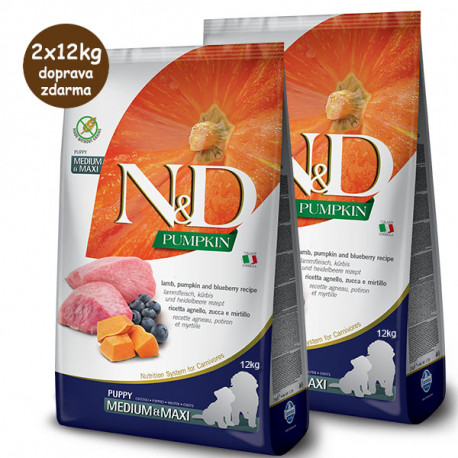 N&D Pumpkin Puppy Medium/Maxi - Lamb & Blueberry 2x12kg Farmina N&D - 1