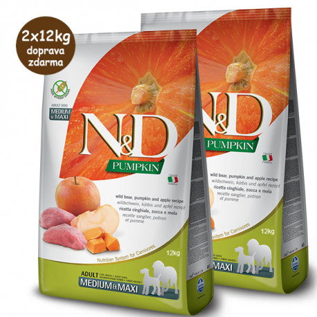 N&D Pumpkin Adult Dog Medium/Maxi - Boar & Apple 2x12kg Farmina N&D - 1
