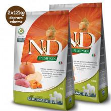 N&D Pumpkin Adult Dog Medium/Maxi - Boar & Apple 2x12kg Farmina N&D - 1