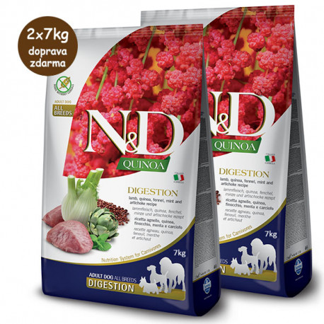 N&D GF Quinoa Dog Digestion Jahňacie a fenikel 2,5kg Farmina N&D - 2