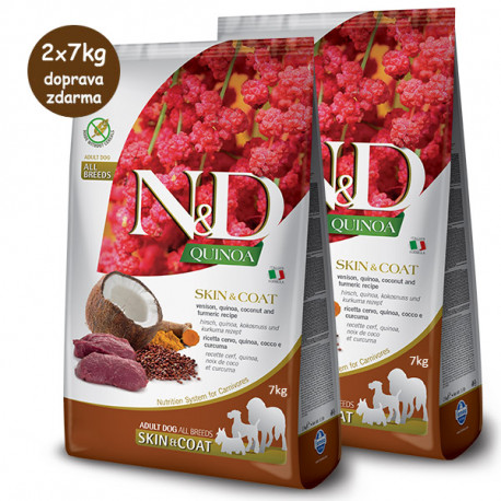 N&D GF Quinoa DOG Skin&Coat Srnec a kokos 2,5kg Farmina N&D - 2