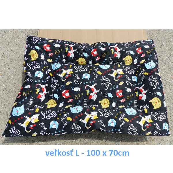 Vankúš pre zvieratá veľ. L Nobleza Cat Pattern Black - 100x70cm Nobleza - 3