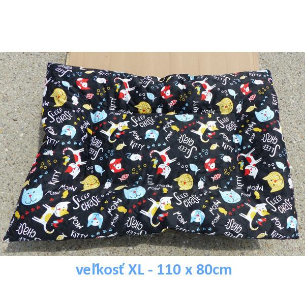 Vankúš pre zvieratá veľ. L Nobleza Cat Pattern Black - 100x70cm Nobleza - 4