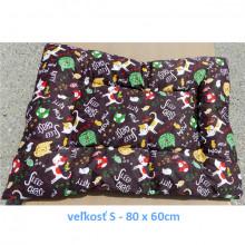 Vankúš pre zvieratá veľ. S Nobleza Cat Pattern Brown - 80x60cm Nobleza - 1