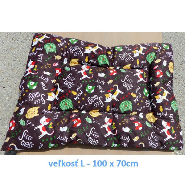 Vankúš pre zvieratá veľ. S Nobleza Cat Pattern Brown - 80x60cm Nobleza - 3