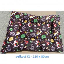 Vankúš pre zvieratá veľ. S Nobleza Cat Pattern Brown - 80x60cm Nobleza - 4