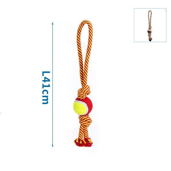 Bavlnené lano s loptou - 41cm (červené/hnedé) Nobleza - 1