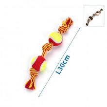 Bavlnené lano s 2 loptami - 30cm (červené/hnedé) Nobleza - 1