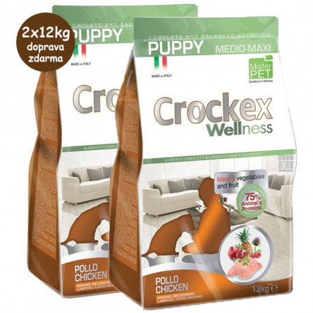 Crockex Wellness Puppy Chicken & Rice 2x12kg MisterPet - 1