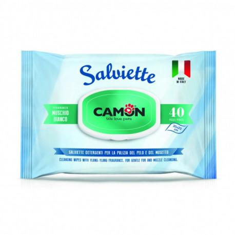 Vlhčené utierky na zvieratá Camon s vôňou bieleho pyžma 40ks Camon - 1