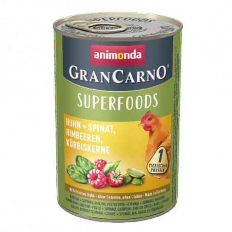 Animonda GranCarno Superfoods Kuracie + špenát, maliny a tekvicové jadierka 400g  - 2