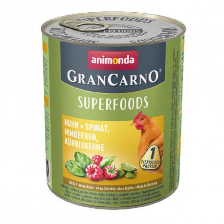 Animonda GranCarno Superfoods Kuracie + špenát, maliny a tekvicové jadierka 400g  - 1