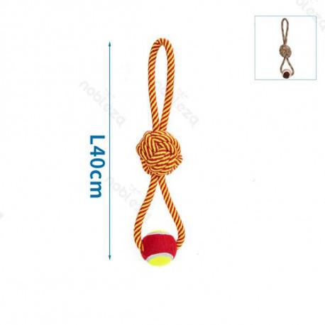 Bavlnené lano s uzlom a loptou - 40cm (červené/hnedé) Nobleza - 1