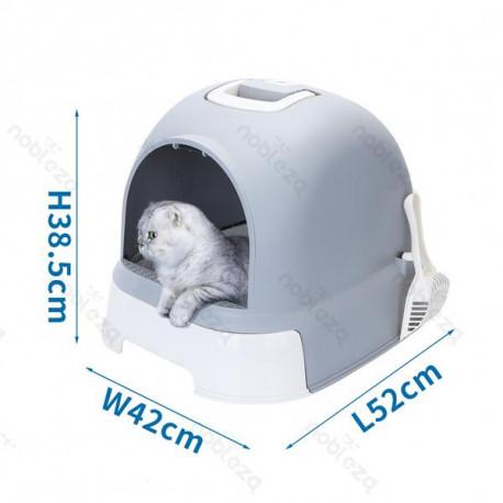 Krytá toaleta s výsuvným dnom pre mačky Nobleza - šedá Nobleza - 1