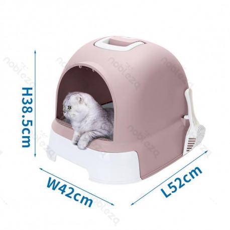 Krytá toaleta s výsuvným dnom pre mačky Nobleza - šedá Nobleza - 2