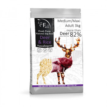Fresh Farm Adult Medium&Maxi Intolerance - Deer & Rice 3kg Fresh Farm - 1