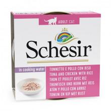 Schesir Cat - Tuniak a kuracie s ryžou vo vlastnej šťave 85g Agras Delic - 1