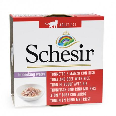 Schesir Cat - Tuniak a hovädzie s ryžou vo vlastnej šťave 85g Agras Delic - 1