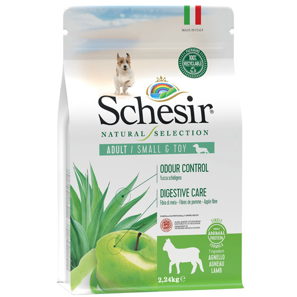 Schesir Dog Natural Selection Adult Small Single Protein Lamb & Apple 490g Agras Delic - 2