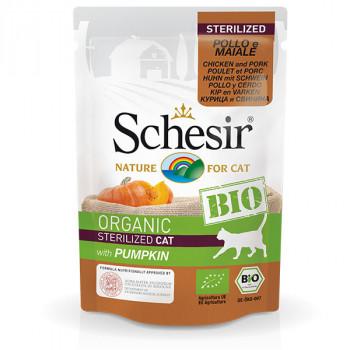 Schesir Bio Sterilized - kuracie a bravčové s dyňou 85g Agras Delic - 1