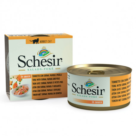 Schesir Cat Salads & Poké Tuniak a krab s papájou a hráškom 85g Agras Delic - 1