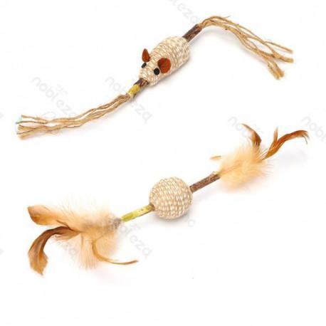 Hračka pre mačku Nobleza - Loptička a myška na drievku 30cm Nobleza - 1
