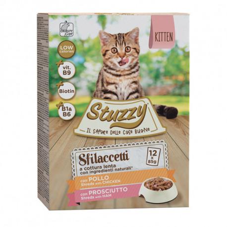 Stuzzy Cat Shreds Multipack - Kitten trhané kuracie a bravčové mäso 12x85g Agras Delic - 1