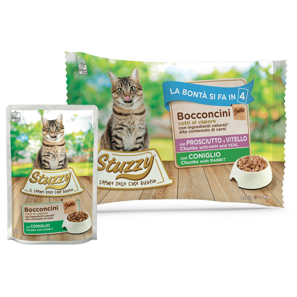 Stuzzy Cat Chunks Multipack bravčové, teľacie a králičie kúsky 4x85g Agras Delic - 1