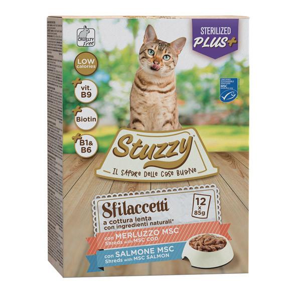 Stuzzy Cat Shreds Multipack Sterilized trhané mäso z tresky a lososa 12x85g Agras Delic - 1
