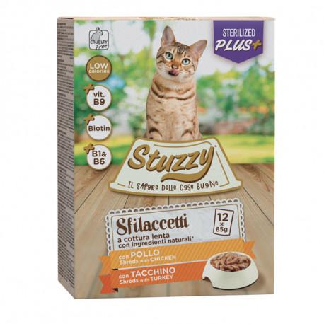 Stuzzy Cat Shreds Multipack Sterilized trhané kuracie a morčacie mäso 12x85g Agras Delic - 1