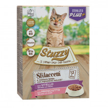 Stuzzy Cat Shreds Multipack Sterilized trhané teľacie a bravčové mäso 12x85g Agras Delic - 1