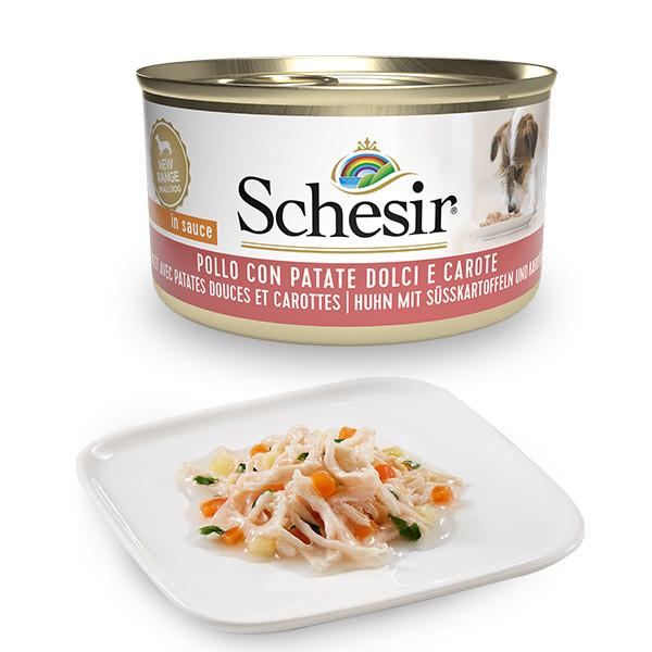 Schesir Dog Adult Petit Cousine - Kuracie filety, bataty a mrkva 85g Agras Delic - 1