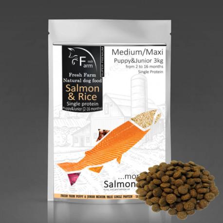 Fresh Farm Puppy&Junior Single Protein Medium&Maxi - Salmon & Rice 3kg Fresh Farm - 1
